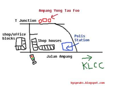Map to Ampang yong tau foo restaurants