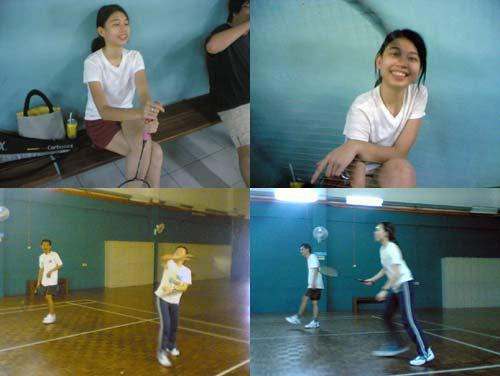playing badminton, Reta and FA