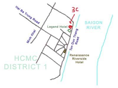 map of District 1, Ho Chi Minh City, Vietnam