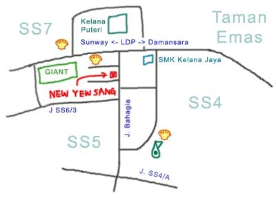 Map to Restaurant New Yew Sang, Petaling Jaya SS4