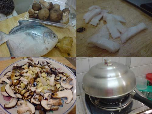 Steamed Pomphret with garlic, ginger, and mushroom