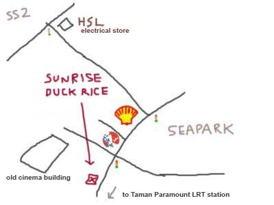 Sunrise Roast Duck Rice, Map of Seapark, PJ