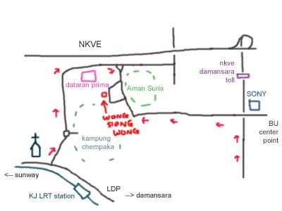 map to Aman Suria, Wong Siong Wong Bak Kut Teh