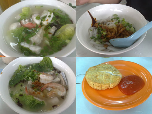 seafood noodle soup and dry version, fried fish cake