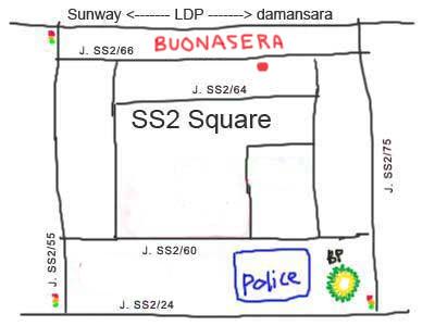 map to Buonasera Italian Restaurant at PJ ss2