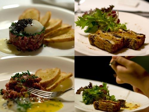 Appetizer, foie gras unagi, wagyu tartare, Cilantro Restaurant at Micasa Hotel