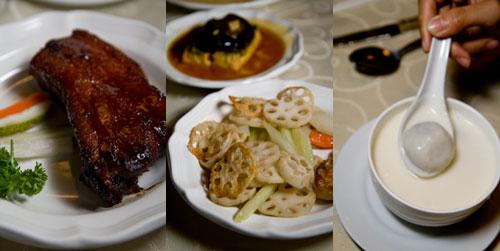 pork ribs, lotus roots, soya bean with tong yuen