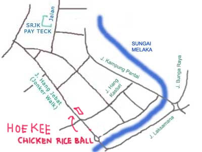 map to Hoe Kee Chicken Rice Ball at Jonker street