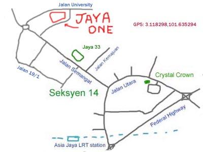 map to Jaya One, Petaling Jaya