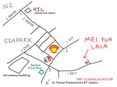 map to Mei Yun restaurant, taman paramount