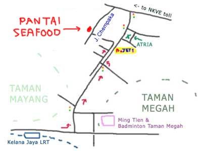 map to Pantai Seafood at Kampung Sungai Kayu Ara, PJ