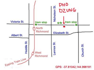 map to Pho Dzung at Richmond, Vic