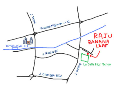 Map to Raju Banana Leaf at Petaling Jaya