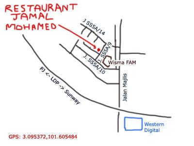 map to restaurant jamal mohamed, near wisma FAM