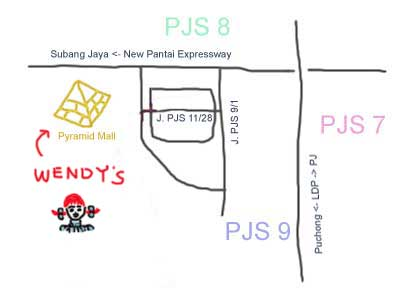 map to Sunway Pyramid, Wendy's
