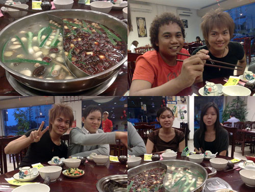 Xiao Fei Yang steamboat with Firdy, Robb, Zach, Vernice, Carol