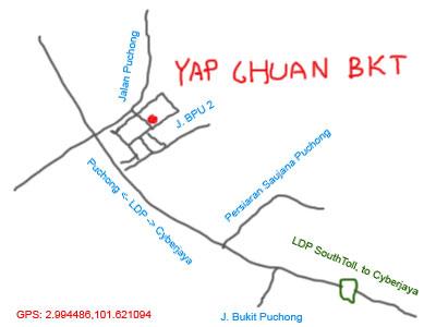map to Yap Chuan Bak Kut Teh at Puchong
