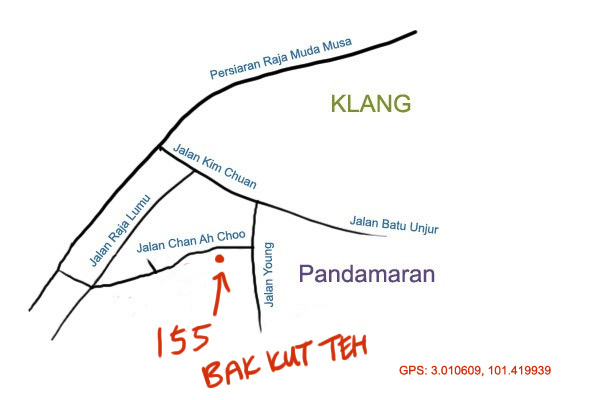 map to 155 bak kut teh, Pandamaran, Klang