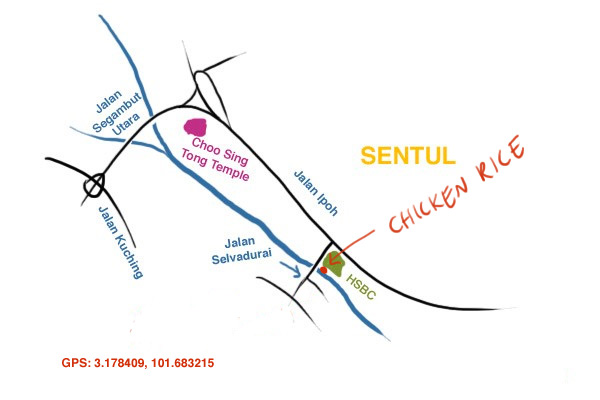 map to Dee Kee Winner's Chicken Rice Off Jalan Ipoh