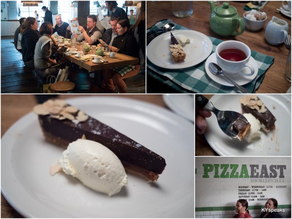 salted caramel tart with some English tea at Pizza East to conclude the tour