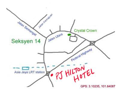 map to Petaling Jaya Hilton Hotel