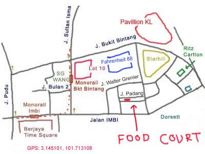map to Medan Selera behind Fahrenheit 88