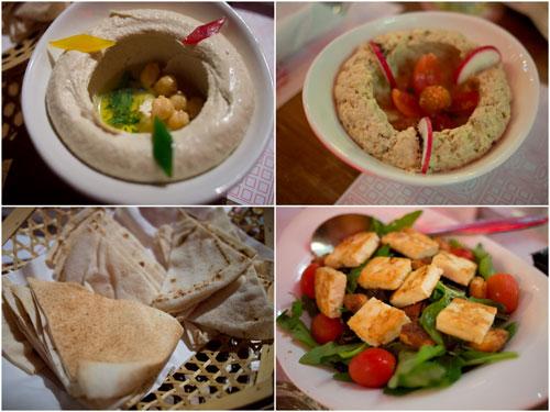 hummus, Lebanese chickpea and eggplant dip, pita bread, haloumi salad