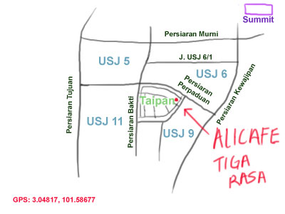 map to Alicafe tiga rasa restaurant