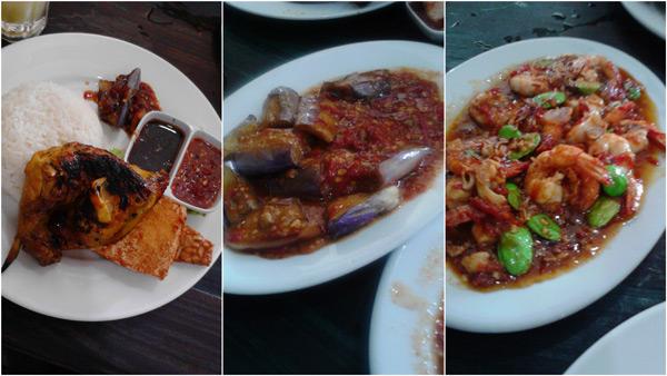 ayam bakar, terung, and petai sambal