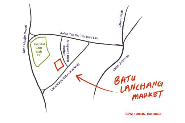 map to Batu Lanchang market food court