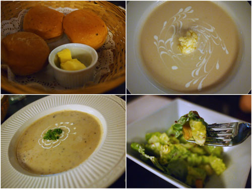 wild mushroom soup, cauliflower soup, caesar salad