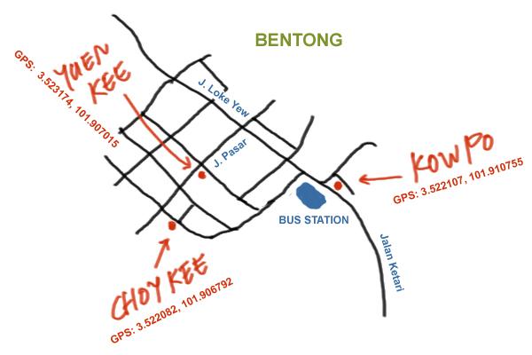 map to Bentong food