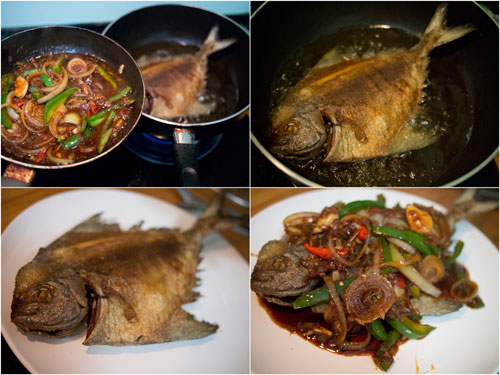 fry the pomfret separately, then pour on the sauce