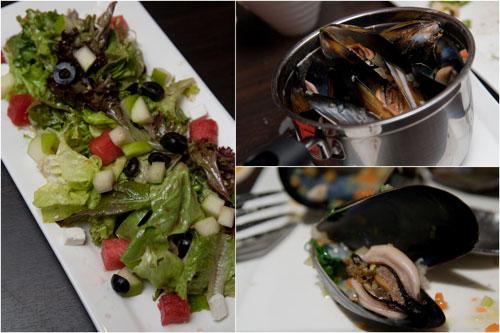 brussels summer fruit salad,  moules hoegaarden / mariniere