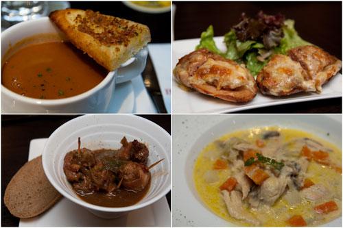 prawn bisque, potatoe skin, blind finches, chicken waterzooi