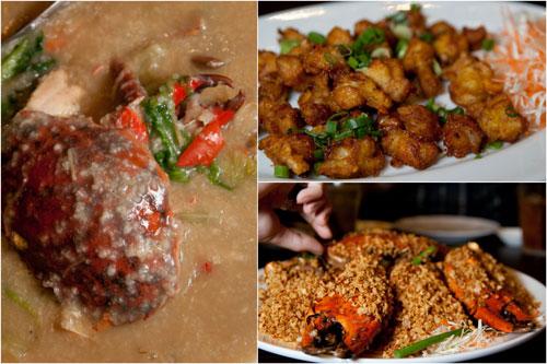 crab porridge, chicken gristle, garlic and chili crab