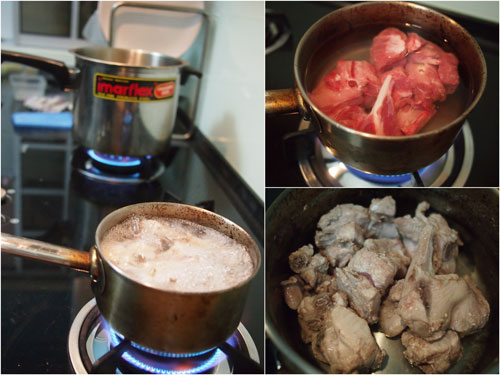 boil the spare ribs for a while to remove impurities