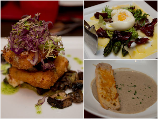 deep fried breaded mozzarella cheese, grilled jumbo asparagus with poached egg, mushroom soup