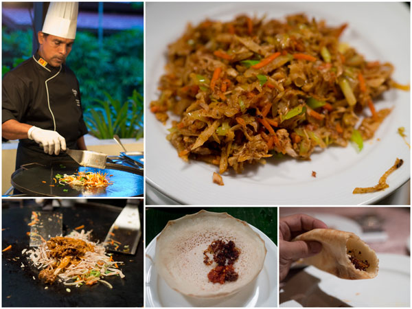 chicken and vegetable kottu, plain hoppers with lunu miris