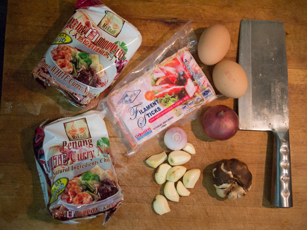 the ingredients, with Penang White Curry mee