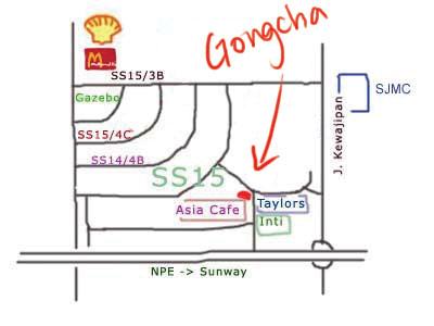 map to gongcha  at Subang Jaya ss15