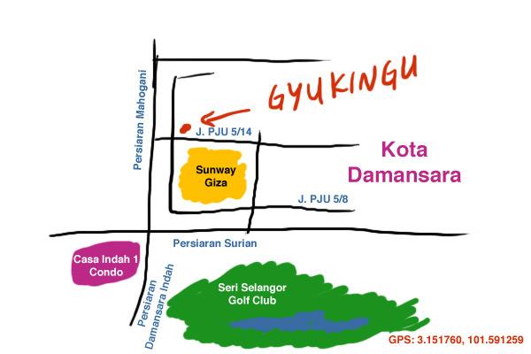 map to Gyukingu, Kota Damansara