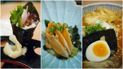 California temaki, anglerfish liver, spicy oyster ramen