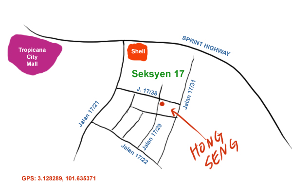 map to Hong Seng kopitiam at Seksyen 17, Petaling Jaya