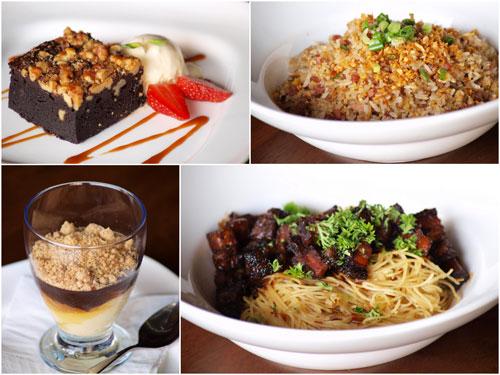 dessert, fried rice, pasta with roast pork