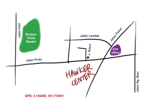 map to Jalan Sayur hawker center