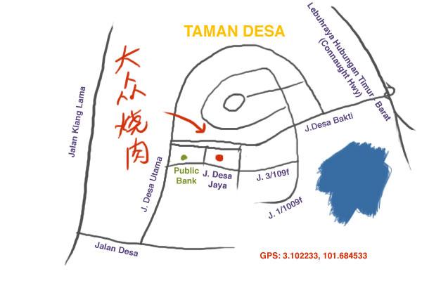map to Japanese BBQ at Taman Desa