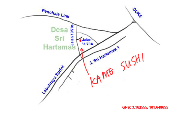 map to Kame Sushi, Sri Hartamas