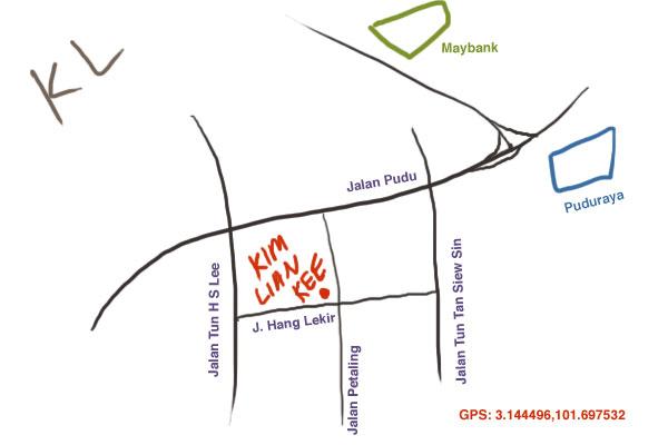 map to Kim Lian Kee at Petaling Street
