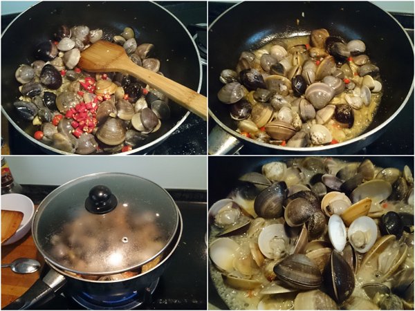 fry till the shells are opened, wise to steam it a bit too
